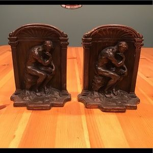 VINTAGE THE THINKER BRONZE DECO/NOUVEAU BOOKENDS
